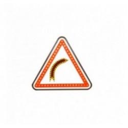 Panneau de signalisation de présence d'un virage dangereux à LEDs