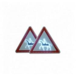 Panneau de signalisation de présence de passage de cavaliers à LEDs