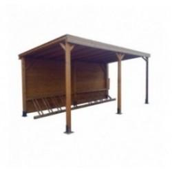 Abri et range vélo en bois avec toit
