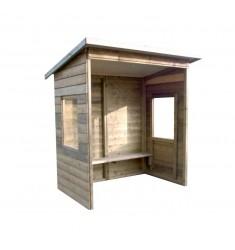 Abribus en bois (2m) avec fenêtre