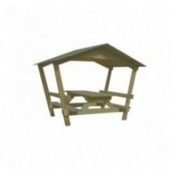 Table de picnic en bois avec toit