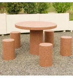 Table pique nique ronde en béton 5 places