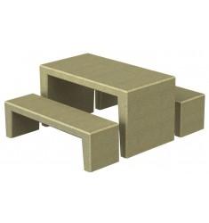 Table pique-nique et bancs en béton armé