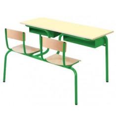 Bureau scolaire Lara biplace avec assises attenantes 130 x 50 cm