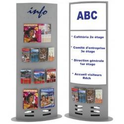 Présentoir multifonctions - Porte brochures H.185 x L.65 cm