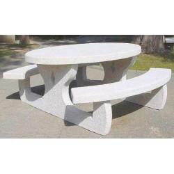 Table pour pique-nique ovale en béton armé Languedoc