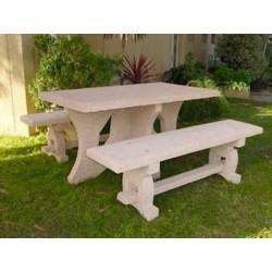 Table pique-nique avec bancs en béton armé Caroli