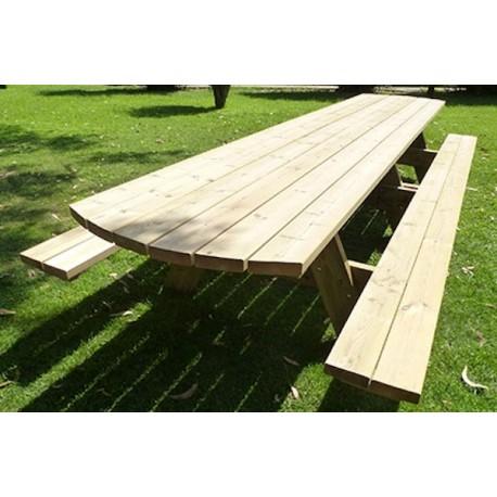 18 personnes - Table de jardin avec banc intégré grande capacité