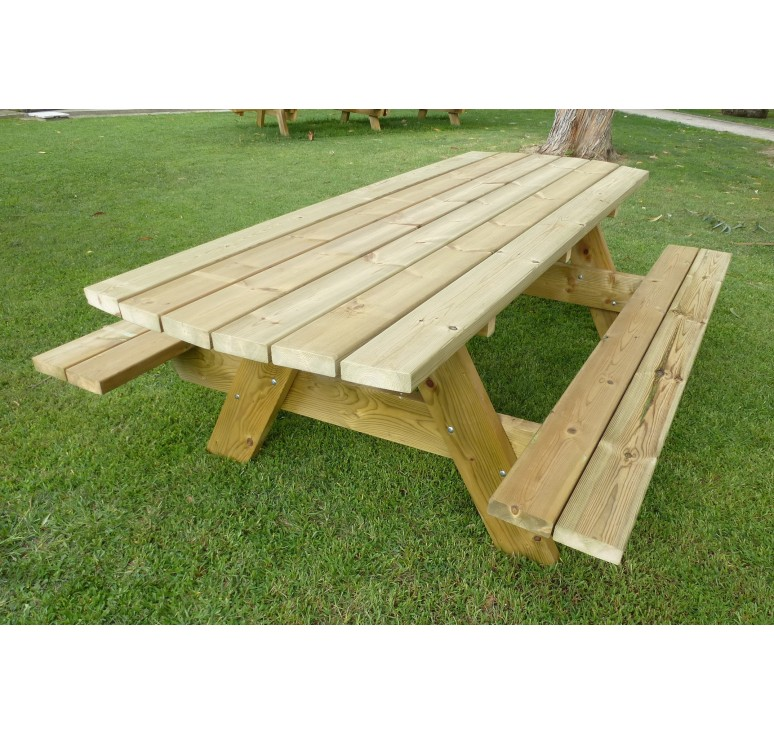 Table d 39 ext rieur en bois pour pique nique table avec for Table exterieur 10 personnes