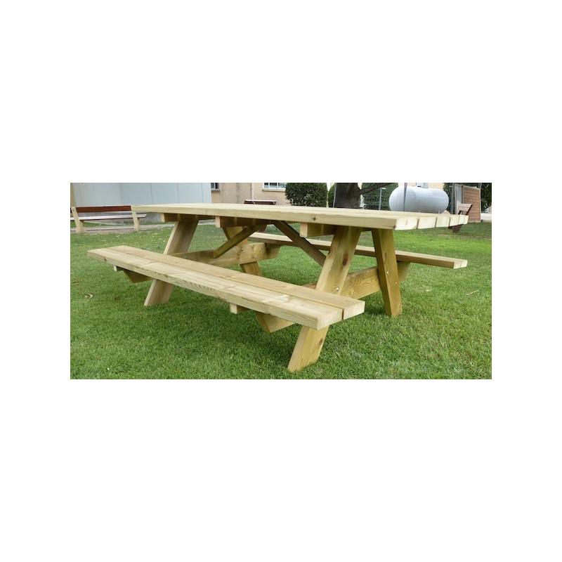 Table de pique-nique pour 10 personnes, grande table en bois ...