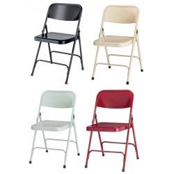 Visuel des quatre coloris disponibles pour la chaise pliante en métal pour salle des fêtes Gênes - Leader Equipements