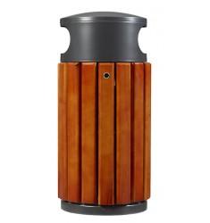 Poubelle urbaine en bois et métal