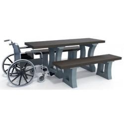 Table pique nique pour PMR - version 180 cm - plateau rallongé d'un seul côté - en plastique recyclé California - Leader Equipe