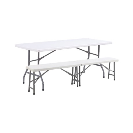 Lot de 10 tables pliantes + 20 bancs pliants en polypro