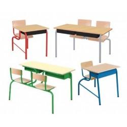 Visuel des bureaux scolaires Lara avec assise attenante - Leader Equipements