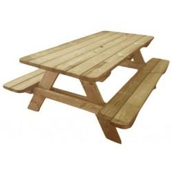 Table pique-nique en bois avec trou pour parasol et angles arrondis modèle Alcor - Leader Equipements