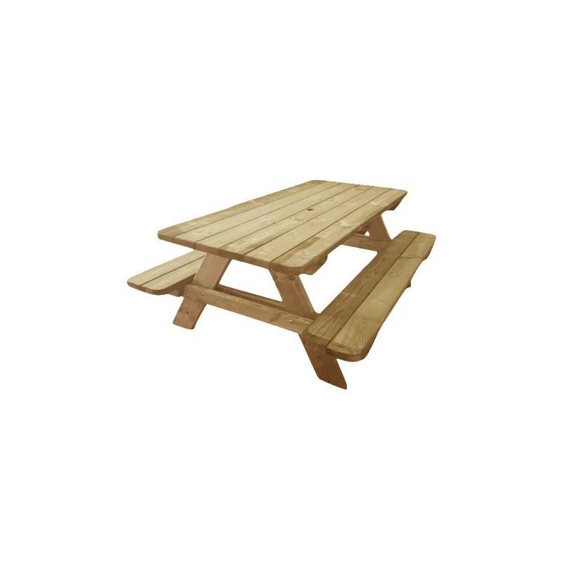 Table de pique-nique en bois avec bancs intégrés, table de camping en bois