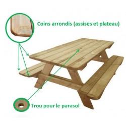 Table pique-nique en bois modèle Alcor - Leader Equipements