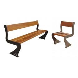 Visuel du banc extérieur Soledad et de la chaise - pieds métal et lames de bois exotique - Leader Equipements