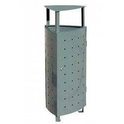 Visuel de la poubelle extérieure Triolo en métal avec toit - Leader Equipements