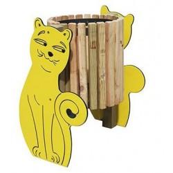 Visuel de la poubelle ludique Chat en bois et compact - Leader Equipements