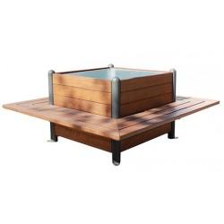 Jardinière cubique avec 4 bancs intégrés en bois exotique et métal - Leader Equipements