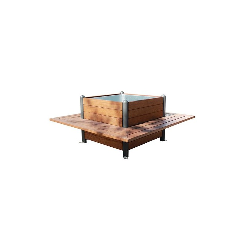 Jardinière avec 4 bancs intégrés, jardinière extérieure en bois exotique et  métal avec assises intégrées