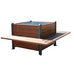 Jardinière cubique à trois bancs intégrés en bois exotique et métal - Leader Equipements