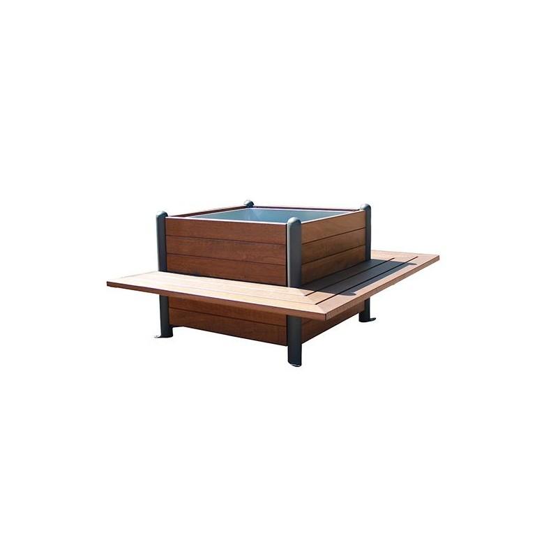 Jardinière en bois exotique avec banc intégré, jardinière en bois exotique  et métal