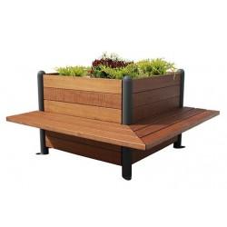 Jardinière cubique aux deux bancs d'angles intégrés en bois exotique et métal - Leader Equipements