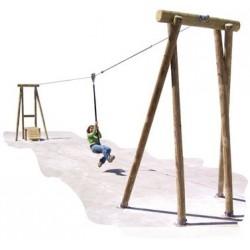 Structure jeu tyrolienne en bois 20 m avec plateforme - Leader Equipements