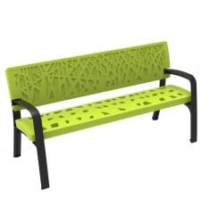 Banc public en polyéthylène Maverick design végétal