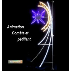 Visuel de la Comète lumineuse animée et pétillante - Décoration de Noël pour poteau communal - Leader Equipements