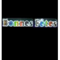 Visuel du Cadre luminaire de Bonnes Fêtes texte irisant arc en ciel - Leader Equipements