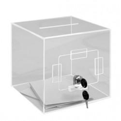 Visuel de l'urne de comptoir transparente avec trappe latérale - 400 bulletins - Leader Equipements