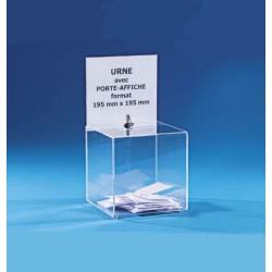 Visuel de l'urne de scrutin de jeux concours avec porte affiche et serrure - 400 bulletins