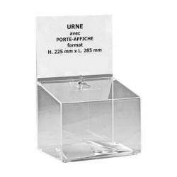 Visuel de l'urne pour bulletins de vote avec porte affiche et serrure - 500 bulletins