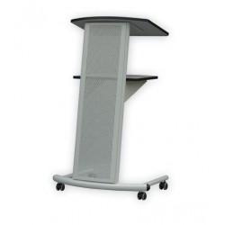 Pupitre conférencier design et mobile en métal gris - Leader Equipements