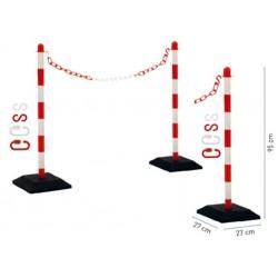 Kits poteaux de guidages et chaînes en plastique rouge et blanc - Leader Equipements