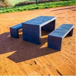 - Ensemble Table pique nique et bancs en recyclé modèle Cabourg - Leader Equipements