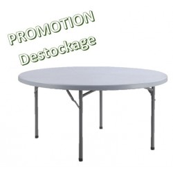 Lot promotionnel de tables pliantes rondes en polypro