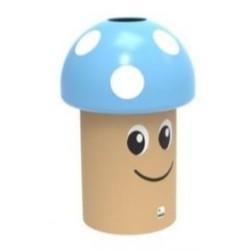 Poubelle ludique champignon en polyéthylène couvercle bleu à poids blancs