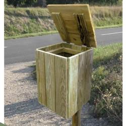 Corbeille Shetland carrée en bois avec couvercle 50 litres