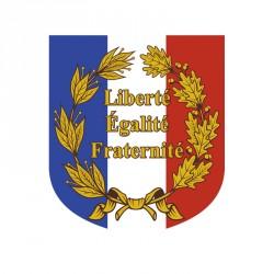 Écusson avec palmes et devise française