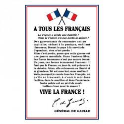 """Plaque d'intérieur """"À tous les français"""" Général DE GAULLE loi BLANQUER"""