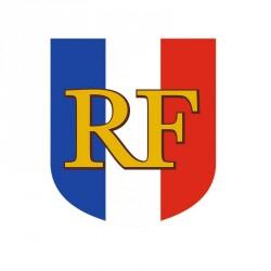Écusson porte drapeaux visuel drapeau tricolore + RF
