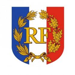 Écusson porte-drapeaux RF avec palmes haut de gamme