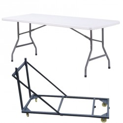 Lots de tables pliantes polypro et chariot de transport