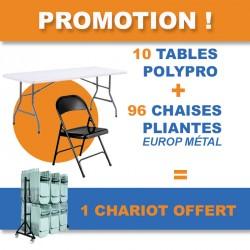 Pack de 10 tables pliantes et 96 chaises pliantes en métal + 1 chariot offert dans ce lot