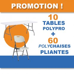 PROMOTION pour 10 tables polypro pliantes et 60 chaises pliantes